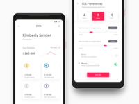 CryptoSOS Home and Preferences screen