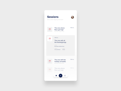 Sessions screen for event app clean minimal simple ios app blue ui welcome conference event schedule session