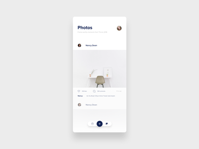 Photo timeline screen for an event app timeline clean minimal simple ios app instagram ui picture photo conference event