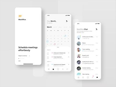 MeetWise scheduler list splash screen ux clean meeting event app to do app chat minimal ui calendar