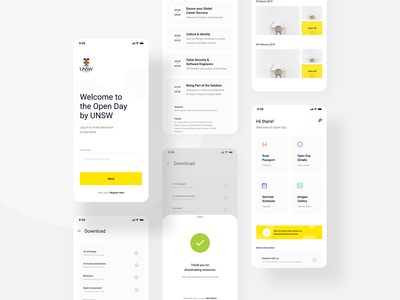 Additional Screens for India Open Day App gallery ux ui minimal clean popup slider sheet botton sheet card cards grid list timeline signup login application app ios andorid