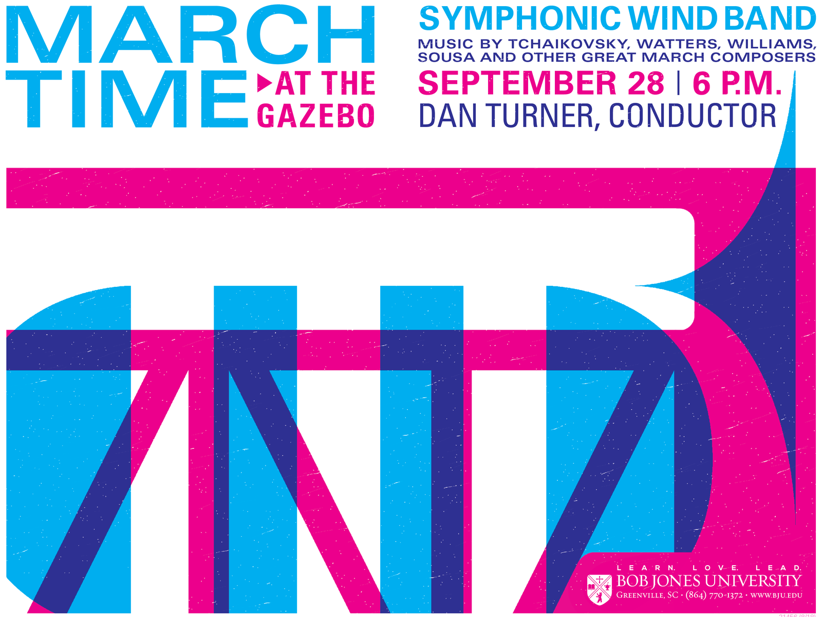 March Time at the Gazebo typography process colors univers drums drum bugle trumpet vector illustration gig poster gig band poster band music poster