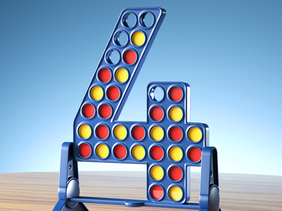 4 is for Connect Four typography hasbro boardgame boardgames connect four connect 4 nftart nft 36daysoftype08 36daysoftype 36days render redshift3d redshift cgi illustration 3d cinema4d 3d art c4d