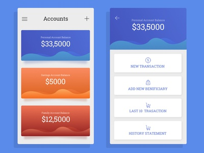 Dashboard - Multiple bank account in one app numbers accounts waves colourful visual trendy dashboard app banking