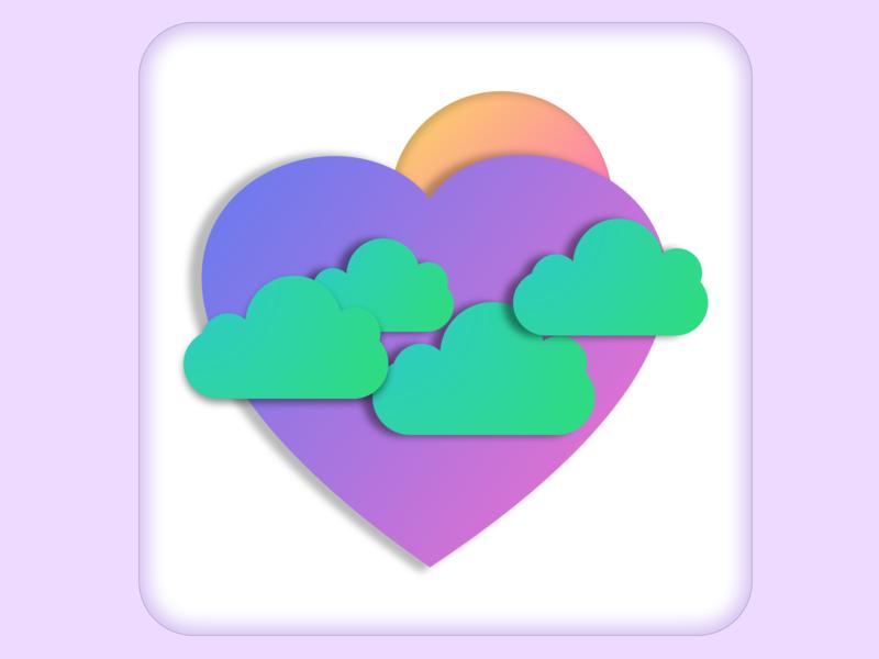 Heart Island logo vector illustration design ui ux ui design branding uxdesign uidesign