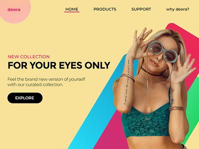 deora - a sunglasses brand landing page visual design minimal redesign uidesign uxdesign
