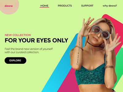 deora - a sunglasses brand visual design typography uiux branding minimal redesign uidesign uxdesign