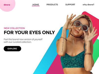 deora - a sunglasses brand visual design typography branding uiux ui design minimal uidesign uxdesign
