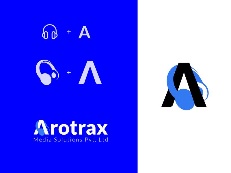 Arotrax Logo blue headphone branding logo