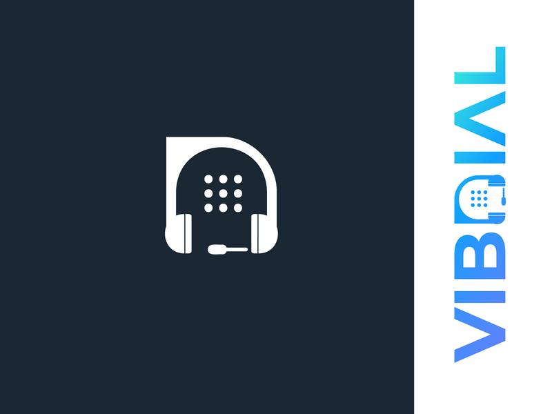 vibdial logo   D + Dial Pad +Headset d letter logo headset dialer logo