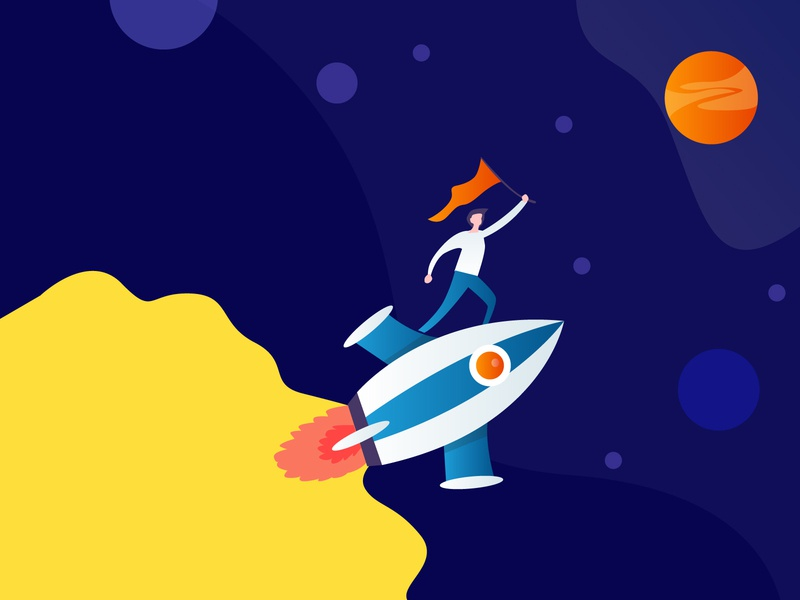 Go High   Reach the goal 😎🤞 gradient landing page growth high flag rocket sky space illustration
