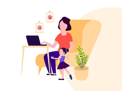 Work From Home website vector landing page work from home illustration