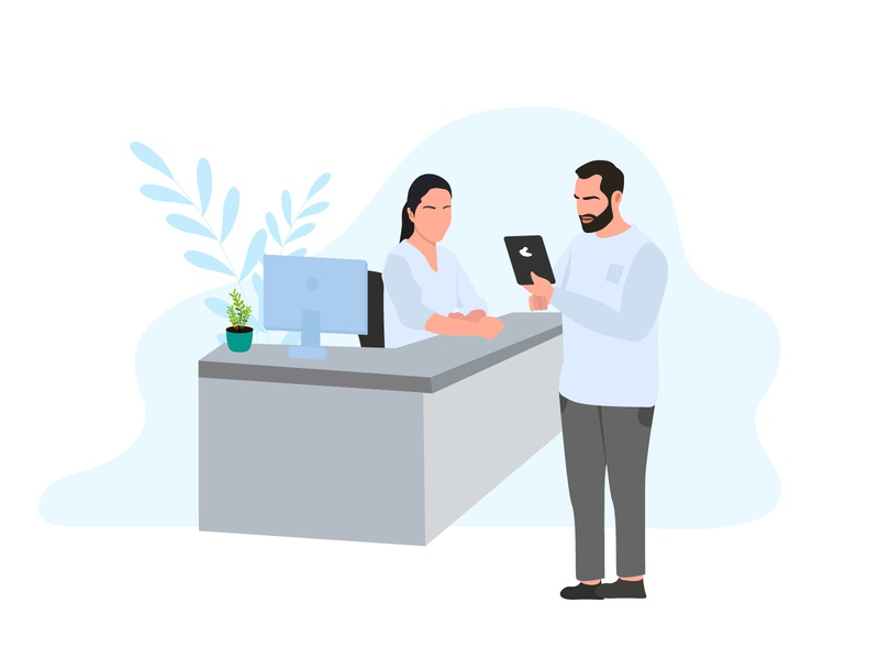 mConsent   Digital Reception front desk digital customer patient receptionist reception design ui vector ipad illustration website
