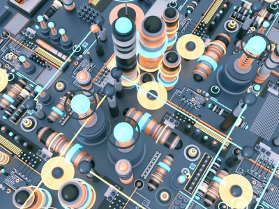 Fresnell graphic detail geometry circuit digital modo 3d abstract