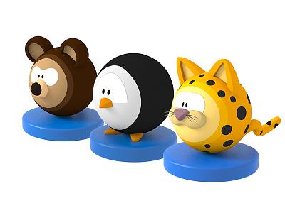 More Ball Characters modo 3d ball character bear leopard penguin balls