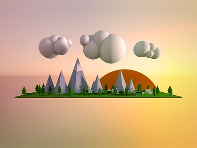 Setting Experiment floating island mountains stuck modo 3d sunset low poly