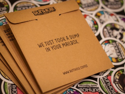 Butthole Coffee Packaging butt poop dump packaging envelope stickermule stickers coffee butthole