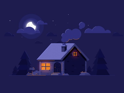Night House Landscape  illustration graphics design night landscape house
