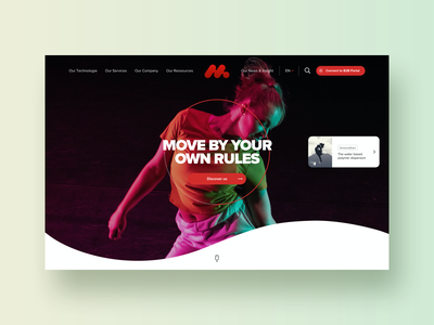 Fiber #2 – Hero section logo technology lightning wave dancer slider header fashion sport move movement dance card landing page exploration hero webdesign modern ui
