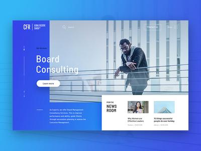 CFR Concept Hero – Version B hero modern blue slider webdesign ui search choice cfr network office landing page