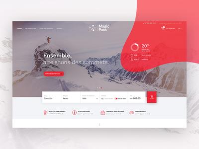 MagicPass #1 – First Screen ecommerce graphic stats swiss slider webdesign ui formular magic pass winter ski landing page