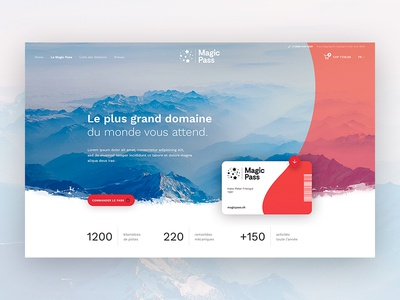 MagicPass #2 – Landing Page ecommerce mountain product page swiss numbers webdesign ui ticket magic pass hero card landing page