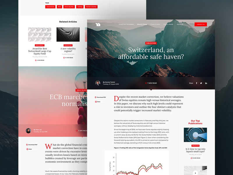 Unigestion #3 – Article Layout Exploration article page article header clean editorial design hero light webdeisgn news read modern ui switzerland layout