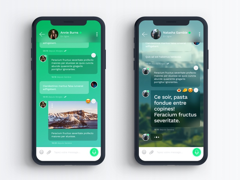 UI Concept – Chat emoji chat talk text adobe xd background image gradient social emojis conversation message blur mobile green app design ui modern