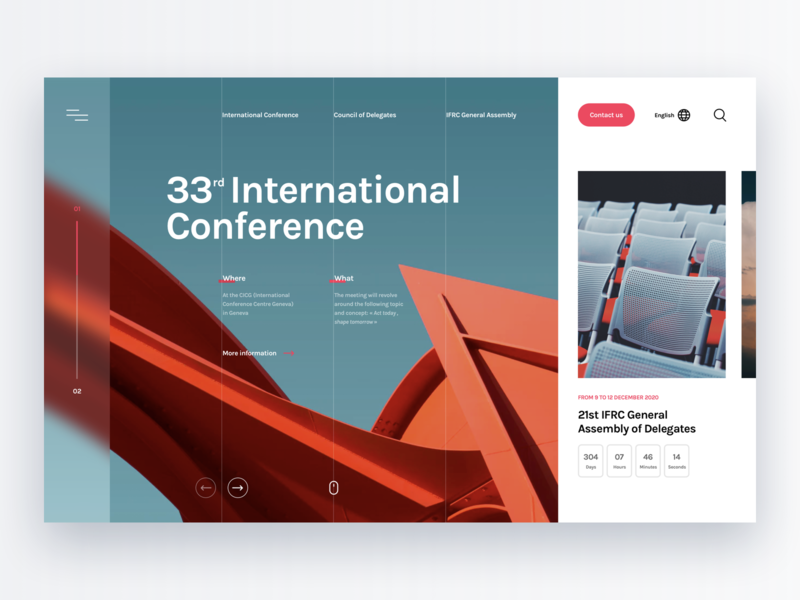 UI Concept – International Conference color assembly meeting blur architecture date event conference countdown calendar exploration hero webdesign ui modern