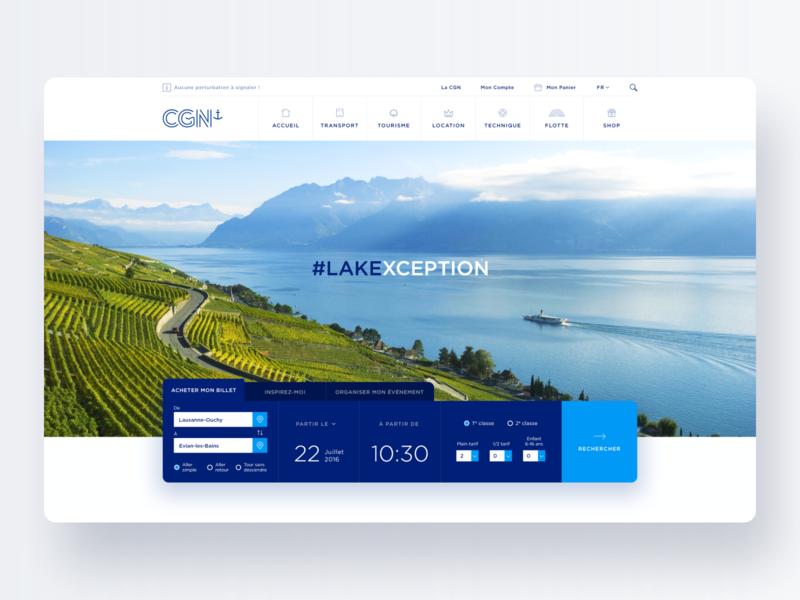 CGN #1 – Header Concept ticket lake landing page modern menu boat schedule search webdesign ui hero