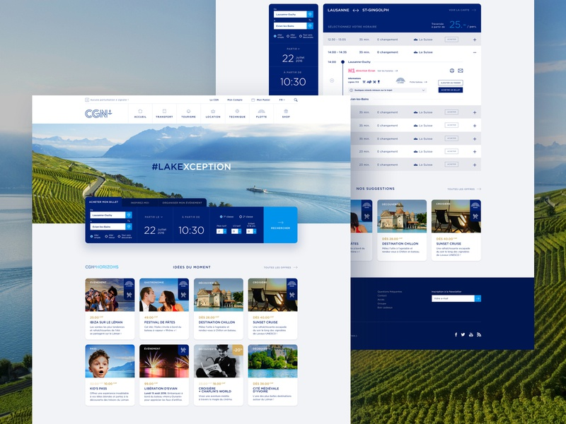 CGN #2 – Activities & Schedule ticketing card switzerland vacation schedule lake boat ticket search ui webdesign landing page hero