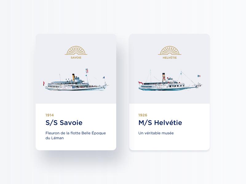 CGN #3 – Cards Concept flag shadow card design gold hover state navigation switzerland boat card design identity branding minimalism ui webdesign