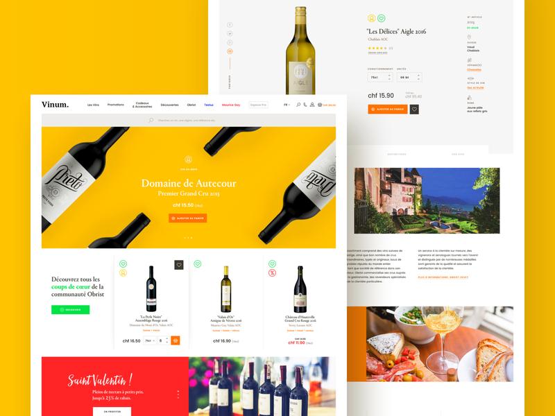 Vinum #1 – Desktop preview product page landing page winery color wine bottle bottle ecommerce eshop wine card exploration branding hero webdesign ui