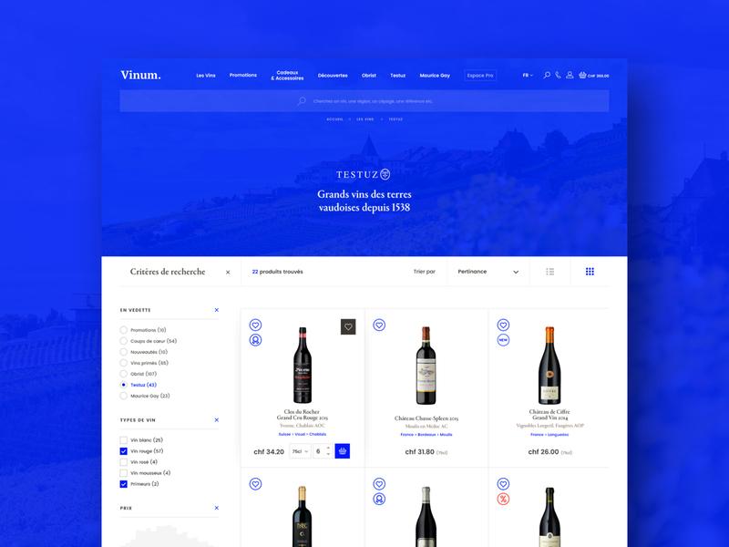 Vinum #3 – Products list colorful blue color search filter basket card bottle winery vine wine ecommerce eshop exploration design branding hero webdesign ui