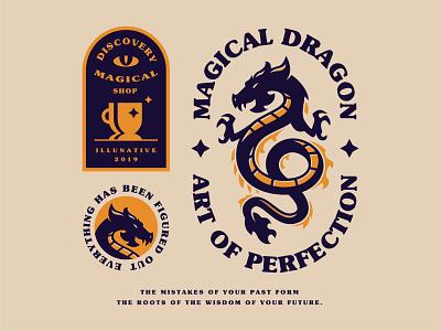 Magical Dragon branding identity illustration buy logo logo for sale logo illunative retro vintage animal chinese dragons legendary shop magic dragon magical