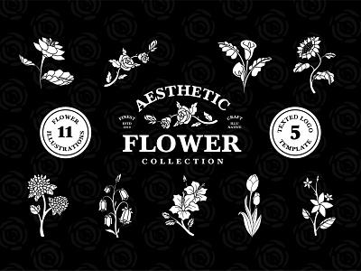 Aesthetic Flower Collection sweet flowershop collection pack 90s feminine girl vintage retro art set bundle flowers flower aesthetic logo tshirt sale illustration asset