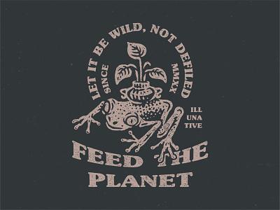 Feed The Planet creative folk wild feed the planet nature tree frog illunative retro mark art vintage animal ikhwan noor hakim buy branding identity buy logo logo for sale illustration logo