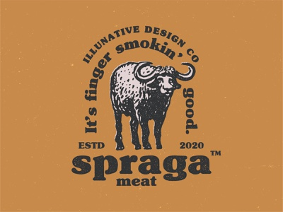 Spraga Meat Logo sheep cow bull meat farmer farm bison hand drawn yellow art retro animal vintage ikhwan noor hakim buy branding identity buy logo logo for sale illustration logo