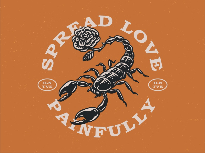 Spread Love Painfully scorpion flower youthful aesthetic spread love rose scorpion illunative vintages tees vintage tshirt merch design apparel design apparel tshirtdesign ikhwan hakim mark retro animal vintage ikhwan noor hakim