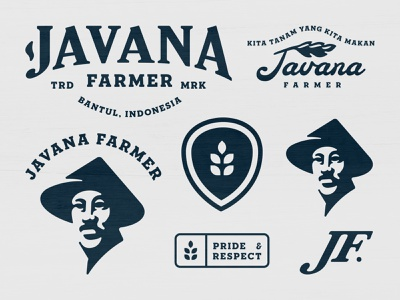Javana Farmer retro vintage buy logo branding identity foods food asian man plants plant leaf rice javana farming field rach farmer farm agricultural agriculture