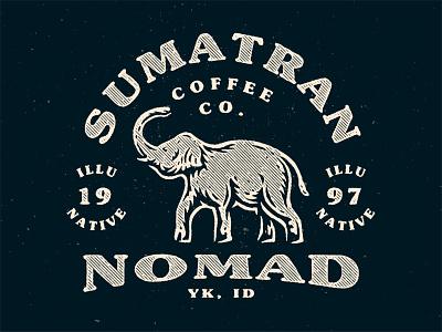 Sumatran Nomad nature cafe sumatra sumatran nomad wild texture badge coffee classic vintage animal elephant buy buy logo ikhwan noor hakim branding identity illustration logo logo for sale