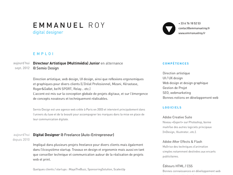 Updated Curriculum Vitae (Resume) by Emmanuel Roy - Dribbble