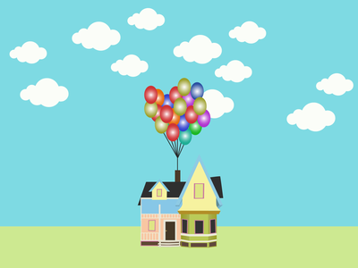 Flying House with Balloons and shooting lasers