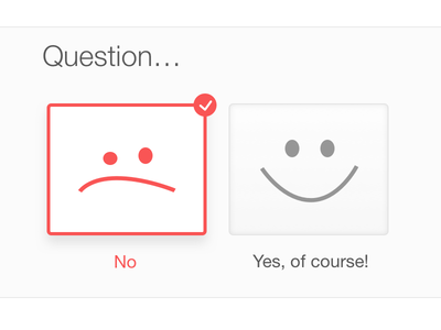 Yes Or No form wizard select question quiz smile icon