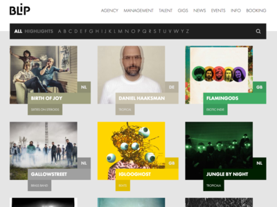 BLiP Agency - artists booking agency web development frontend color artists listing landing home booking agency music