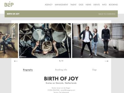 BLiP Agency - artist profile design development web profile artist booking agency music