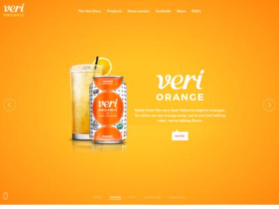 Veri Soda Orange  design development homepage slider landing web liquid orange juice soda organic drinks