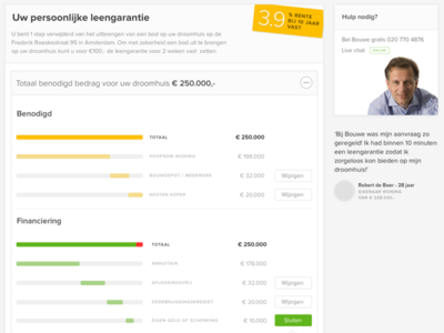 Online Mortgage Status Page form funnel ux ui stat graph mortgage status