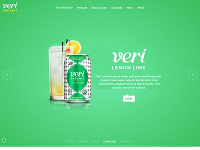 Veri Soda Lemon Lime drinks organic soda juice orange liquid web landing slider homepage development design