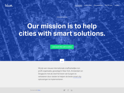 Blue City Solutions web landing parallax home homepage development design blue cities smart